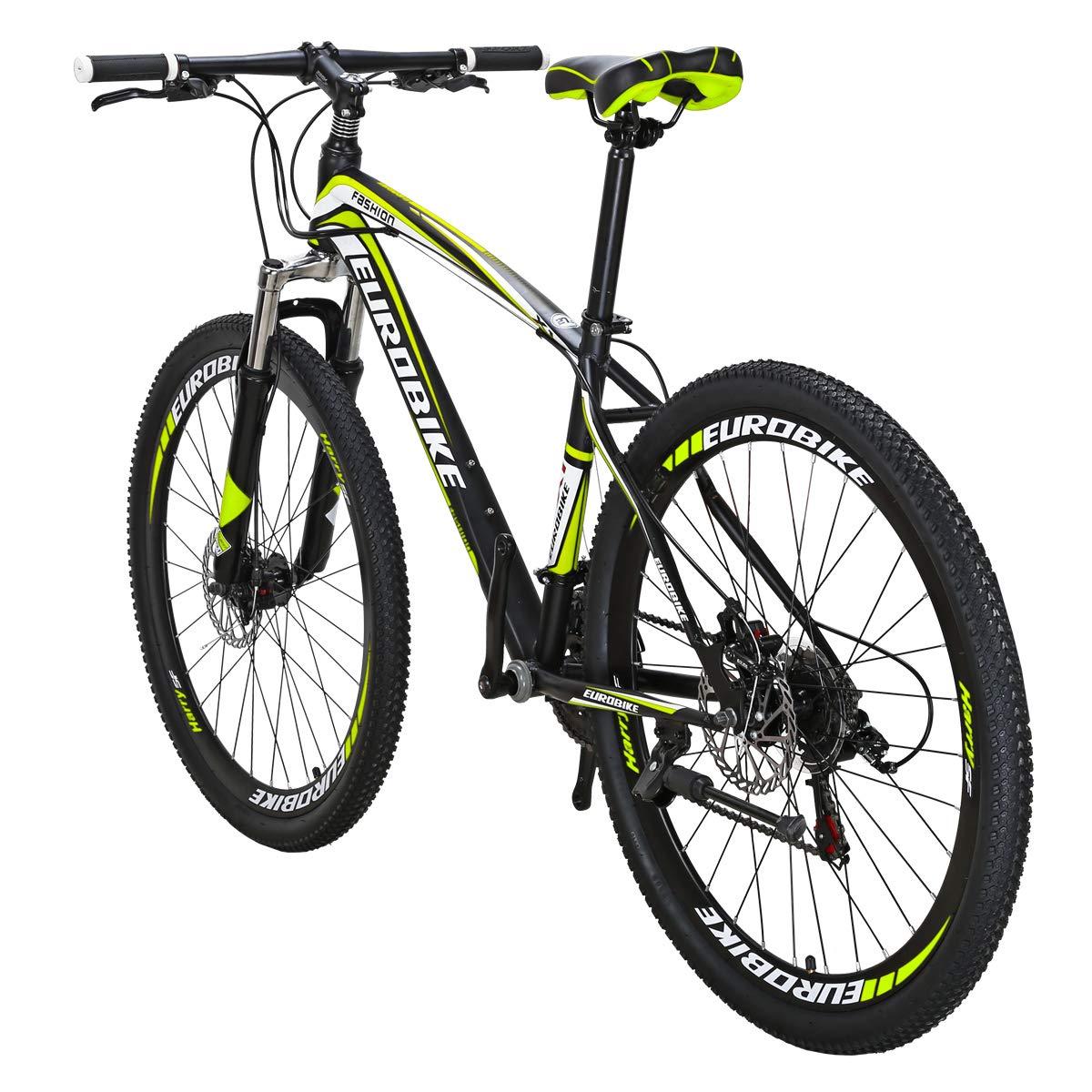 c2f1d1559a5 Eurobike X1 Mountain Bike 21 Speed MTB Bicycle 26 Inch Wheels Dual Disc  Brake Suspension Fork MTB Bicycle Black-Yellow, Hardtail Mountain Bikes -  Amazon ...