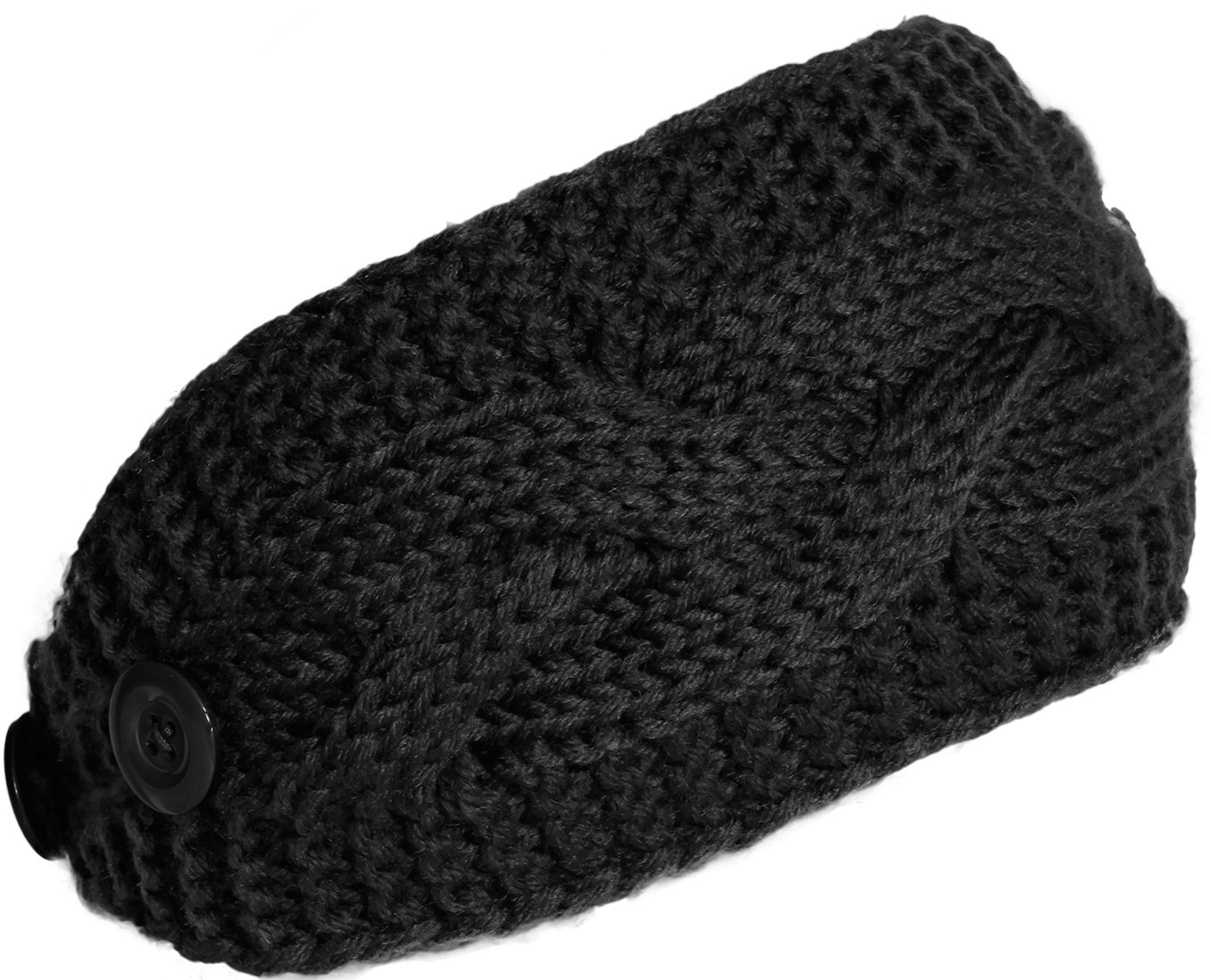KMystic Plain Adjustable Winter Cable Knit Headband (Black)
