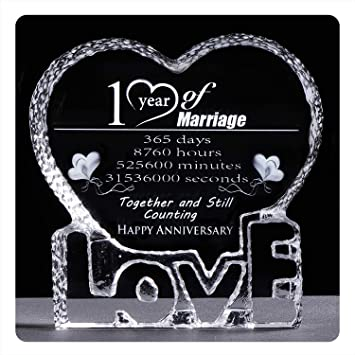 Amazon Com Ywhl Crystal First One Year 1st Wedding Anniversary Paperweight Keepsake Gifts For Her Wife Girlfriend Him Husband Office Products