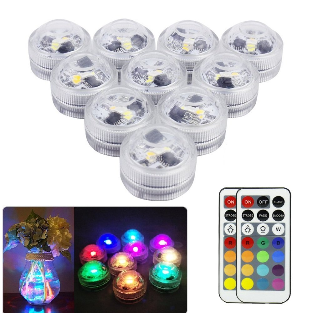 GUTYRAN Waterproof Tea Lights Submersible LED Vase Lights with Remote Control,RGB Color Changing for Party,Wedding Shower Table Centerpieces,Home Decor, Pack of 10 … (Tea Light (Updated))