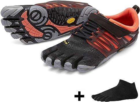 Vibram FiveFingers V de Train Women – Fitness – Juego de entrenamiento de diez Zapatos Calcetines de dedos con Gratis, Black / Coral / Grey, 40: Amazon.es: Deportes y aire libre