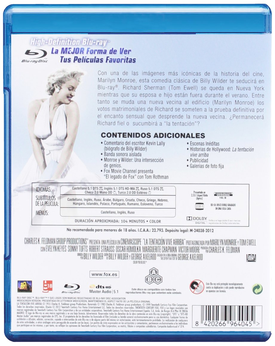 Amazon.com: La Tentación Vive Arriba (Blu-Ray) (Import Movie) (European Format - Zone B2) (2012) Marilyn Monroe, Tom Ewell: Movies & TV