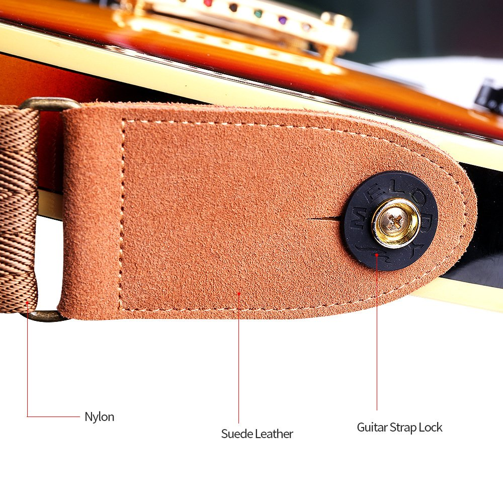 Phorcs Guitar Strap with Genuine Leather End for Acoustic Bass Ukelele and Electric Guitar - Include Guitar Picks & Strap Button & Strap Blocks & Guitar Pick Holder Bracelet by Phorcs (Image #6)