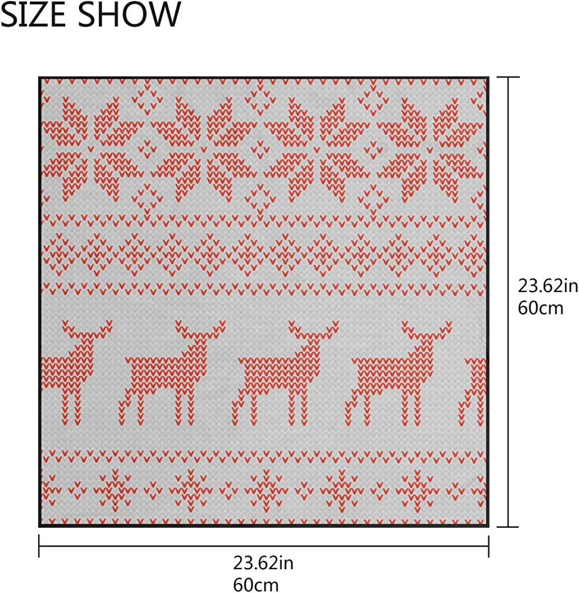 Soft Polyester Silk Ladies Scarfs Fashion Print Knit Reindeer Star And Snowflake Lightweight Scarfs Hair Scarf Neck Womens Neck Scarf Multiple Ways Of Wearing Daily Decor