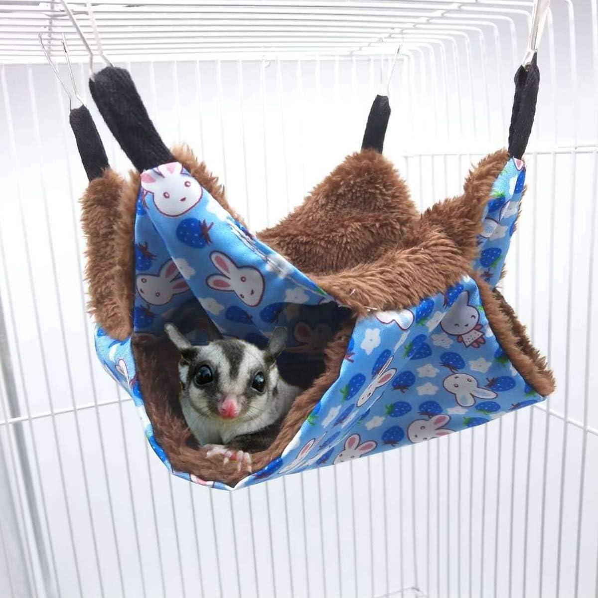 POPETPOP Rat Hammocks-Double Layer Hammock for Small Animal Ferret Guinea Pig Degu Gerbil Mice Hamster Chincilla Hammock Sleeper Cage Accessories-Small Blue