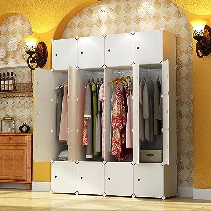 KOUSI Portable Wardrobe Closet For Bedroom Clothes Armoire Dresser Cube  Storage Organizer, 8 Cubesu00264 Hanging