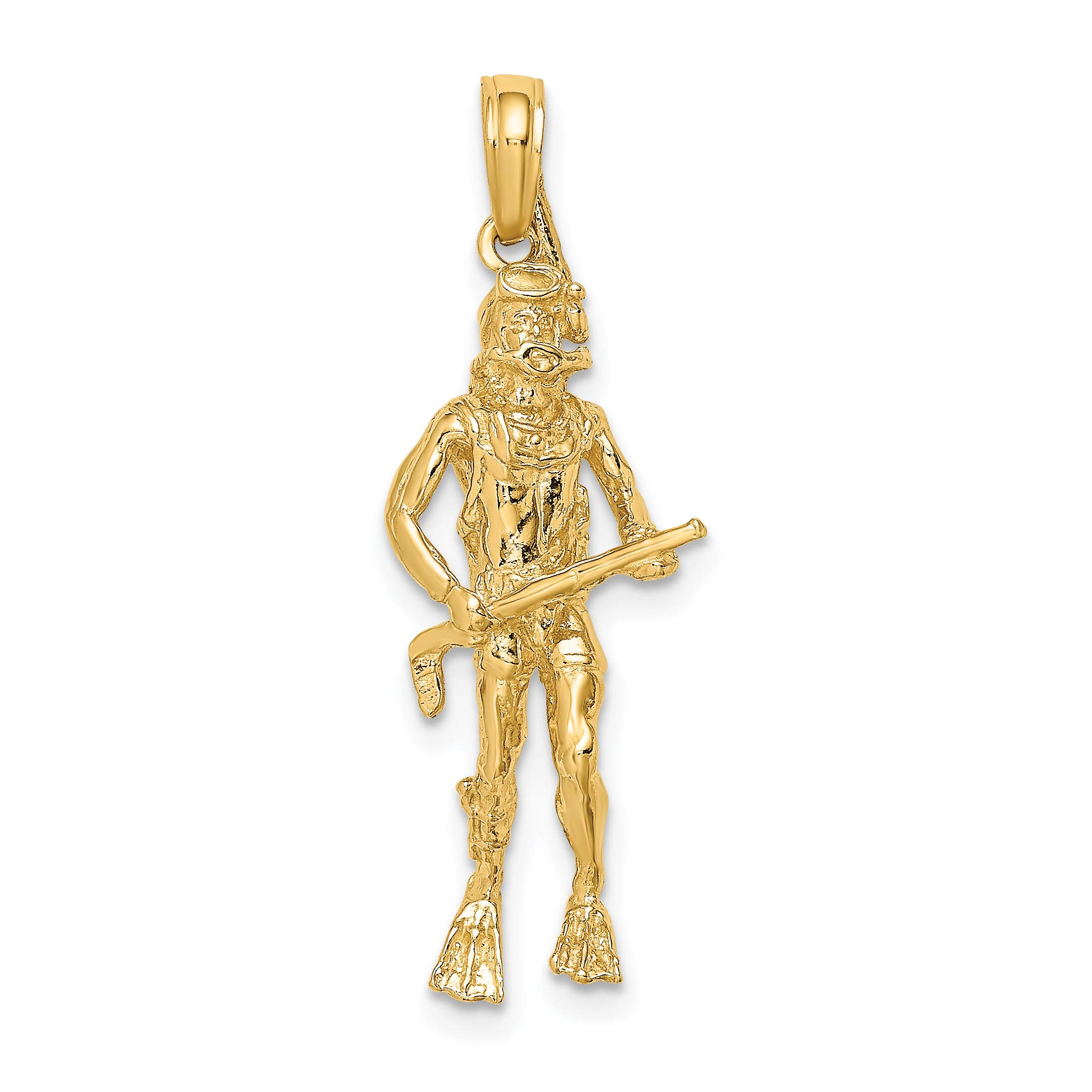 14k Yellow Gold Vertical Scuba Diver with Harpoon Spear Gun Pendant 29x11mm by Jewelry Stores Network