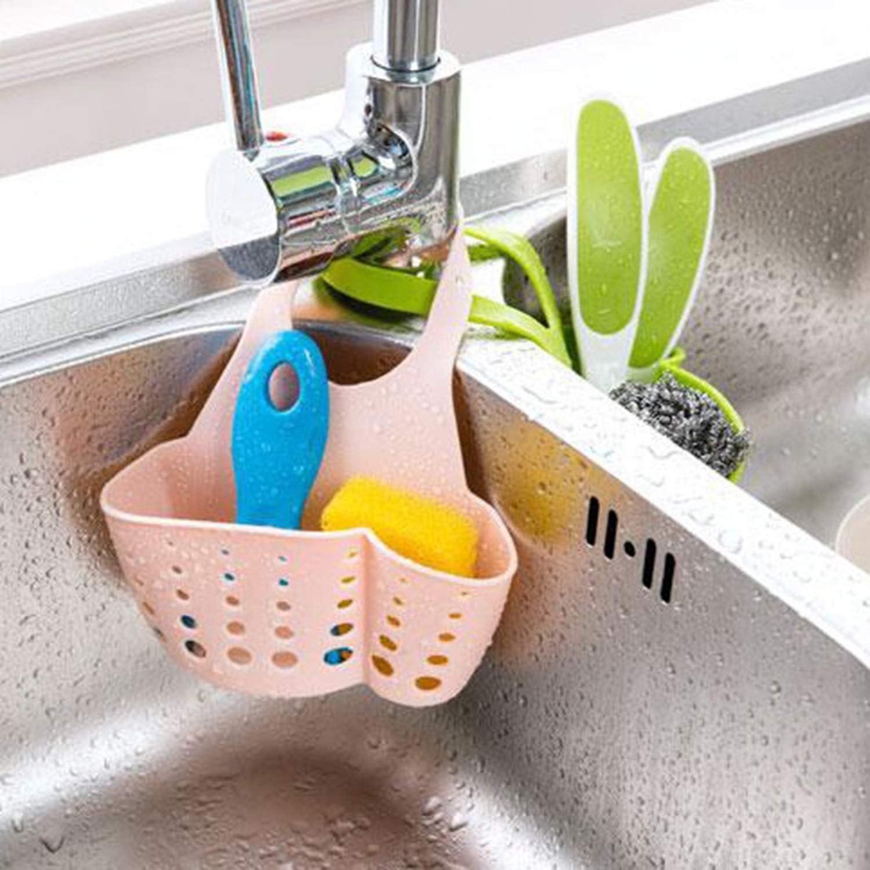 Adjustable Design Snap Sink Faucet Housing Cradle Kitchen Shelving Rack Kitchen Sponge Holder Storage Basket