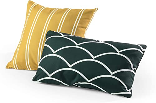 Tecoria Mustard Everglade Mixed Pattern Outdoor Pillow Set