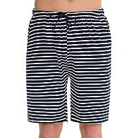 Irevial Pantalones Cortos de Pijama Hombre Fresco Verano,Algodon Raya Elástico Ajustable Cintura Cómodo Pantalón de Dormir con Bolsillo, para Dormitorio, Vacaciones, Deporte, Salir