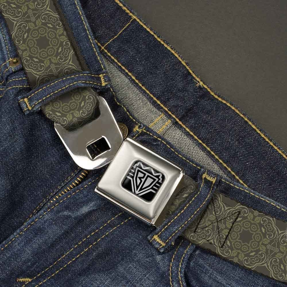 1.5 Wide 24-38 Inches in Length Tapestry Charcoal//Olive Buckle-Down Seatbelt Belt