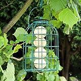 Happy Beaks Kingfisher Green Powder Coated Squirrel Guard Feeder for Fat Balls, Wild Garden Bird Fat Ball Cage