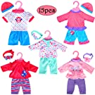 """5-Pack Playtime Outfits for 11""""-12""""-13"""" Dolls (Includes Hair Bands and Hats) Like 11-inch Baby Dolls /12-inch Alive Baby Dolls New Born Baby Dolls"""