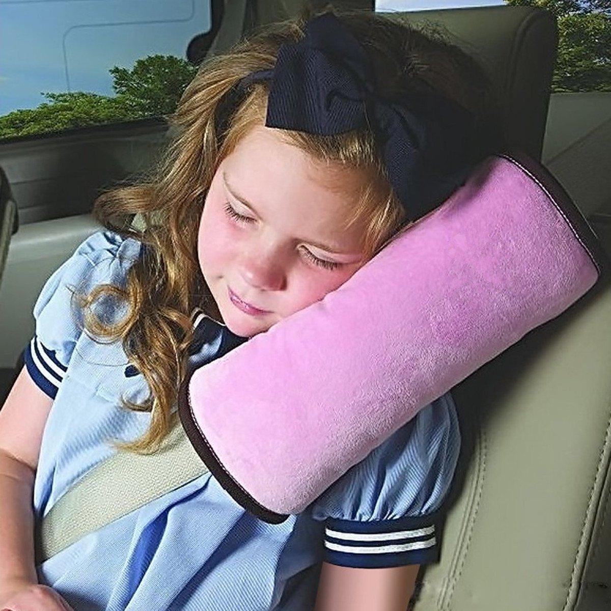 Sicherheitsgurt Kissen fü r Kinder defgo Auto Sicherheitsgurt Gurt Schulterpolster Bezug Kopfstü tze Nackenstü tze fü r Kinder Kid Erwachsene grau