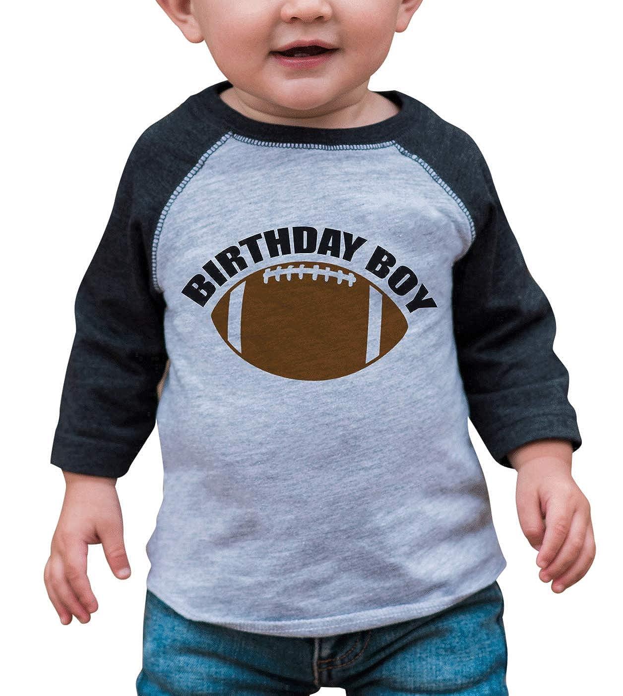 7 ate 9 Apparel Boys Birthday Boy Football Grey Raglan Tee