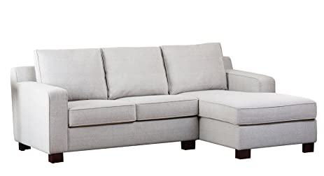 Abbyson Regina Fabric Sectional Sofa, Grey