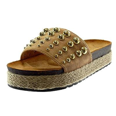 Angkorly Chaussure Mode Mule Sandale Slip-on Plateforme Femme Perle Clouté Corde Talon compensé Plateforme 4 CM