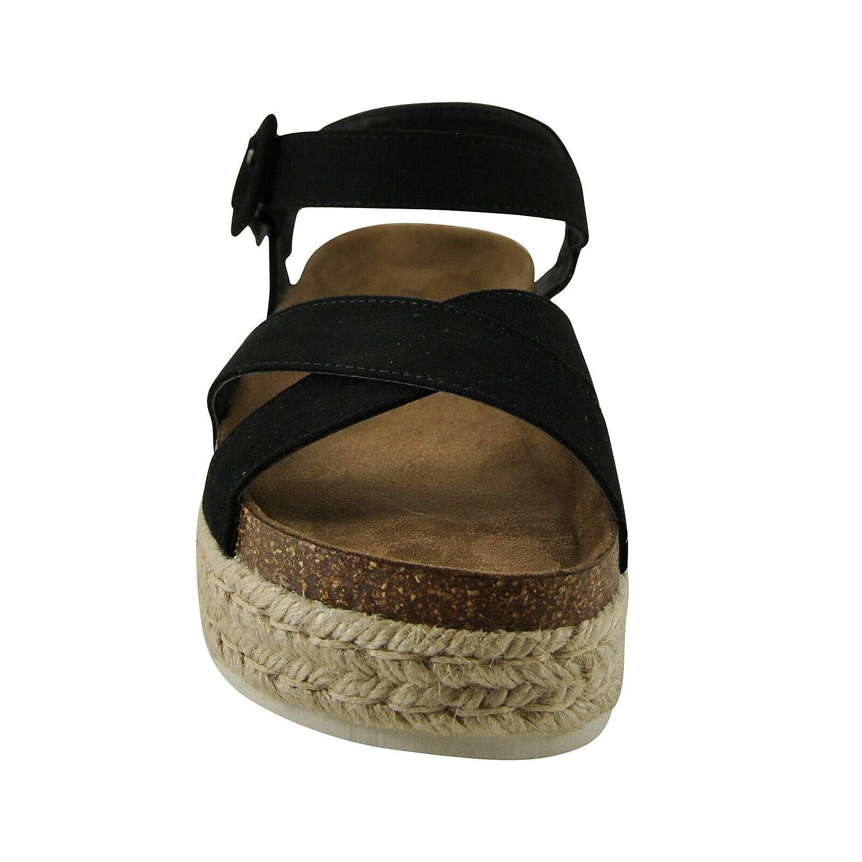 Pierre Dumas MESA-7 Womens Platform Wedge Espadrille Sandal 6, Black