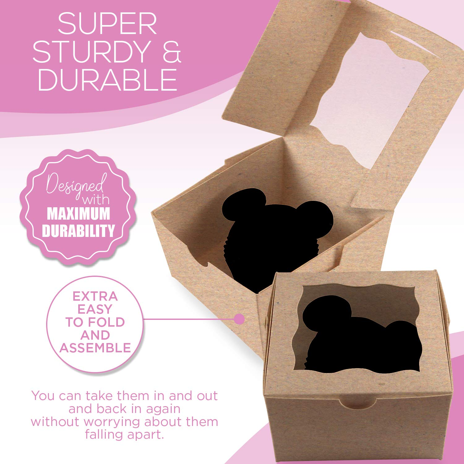 [50Pack] Bakery and Wedding Favor Boxes with Window 4x4x2.5'' - Gift Boxes for Cookies, Cake, Pastries, Donuts, Cupcakes, Candy & Baked Good Treats | Small Dessert Packaging Party Containers by FreshLi (Image #5)