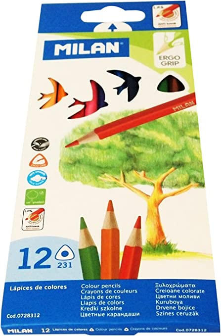 Milan 0728312 - Pack de 12 lápices de colores, triangulares ...