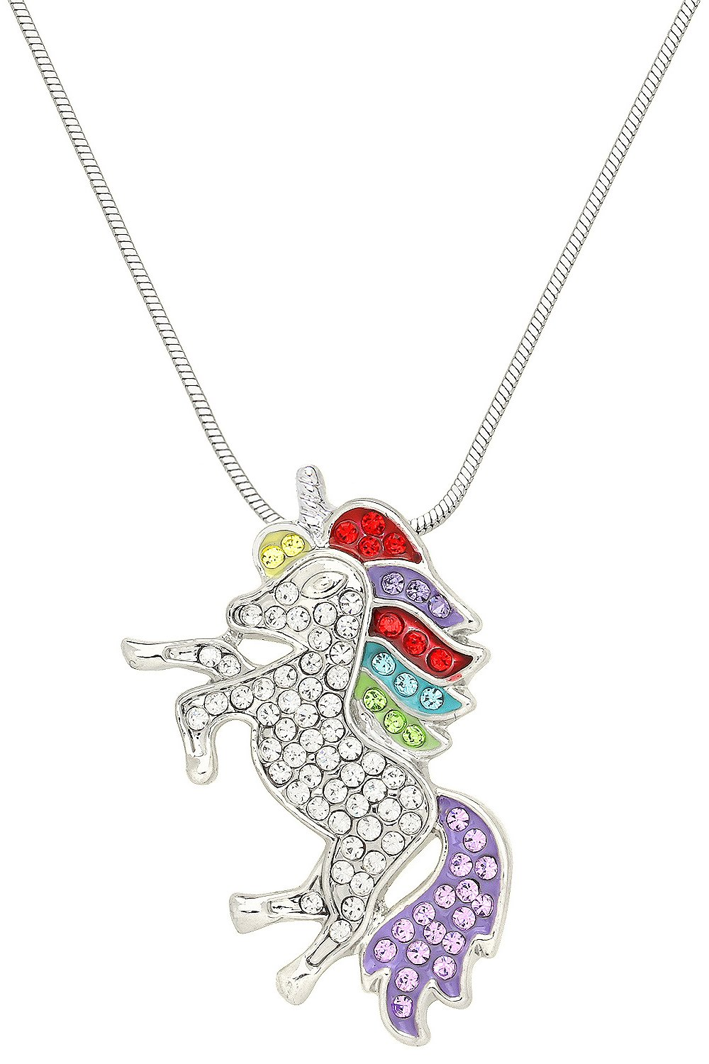 Falari Unicorn Pendant Necklace Rhinestone Crystal Rhodium High Polished J0132