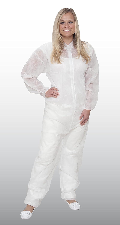 50x Einweg-Overall Größe XL weiß Einwegoverall Schutzanzug Maleranzug 50 Stück