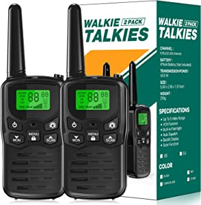EKOOS Walkie Talkies Long Range for Kids and Adults Two-Way Radios Up to 5 Miles in Open Areas 22 Channels FRS/GMRS VOX Scan LCD Display with LED Flashlight, Gifts for Girls and Boys (2 Pack, Black)