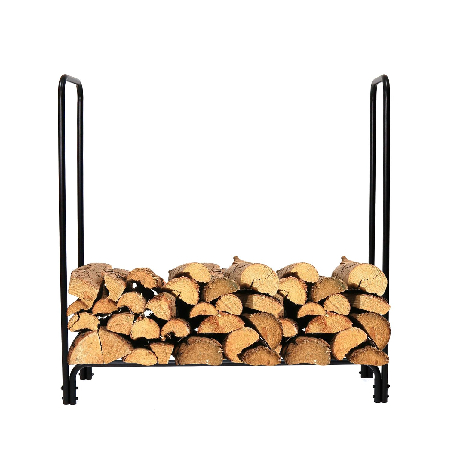 Peach Tree Heavy Duty Firewood Rack, Black, 4-Feet