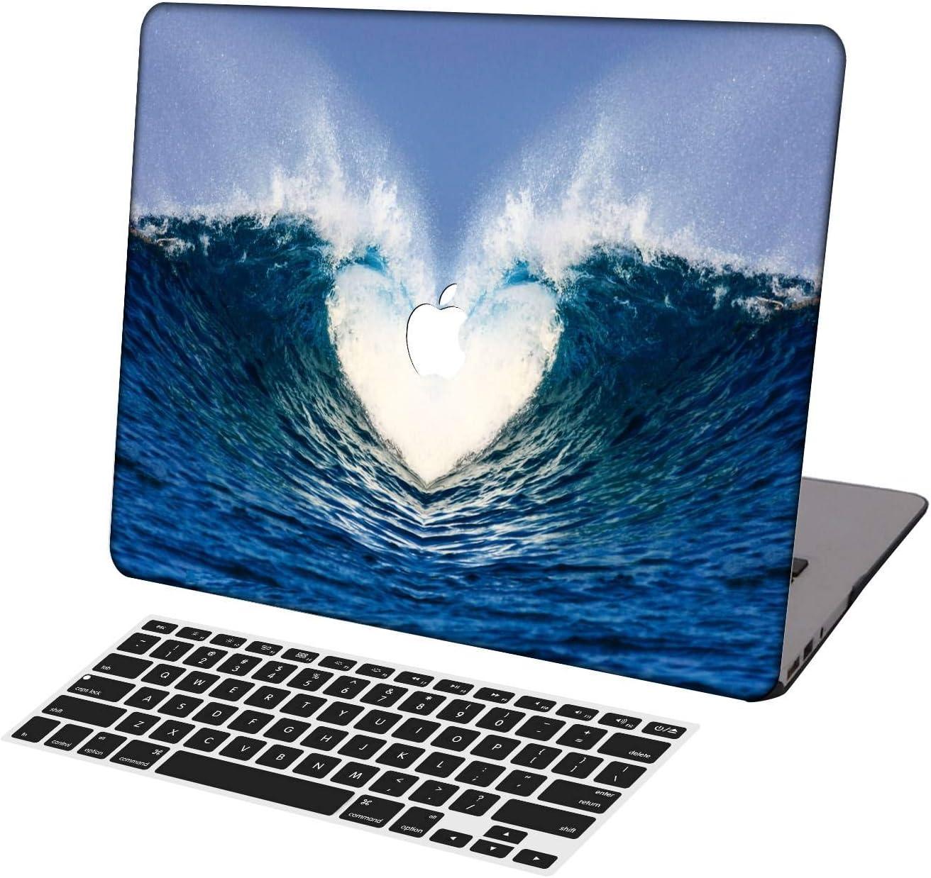 KSK KAISHEK Laptop Case for 2016-2020 Release MacBook Pro 13 Inch Model:A2338 M1/A2289/A2251/A2159/A1989/A1708/A1706,Plastic Ultra Slim Light Hard Shell Keyboard Cover,Heart Ocean