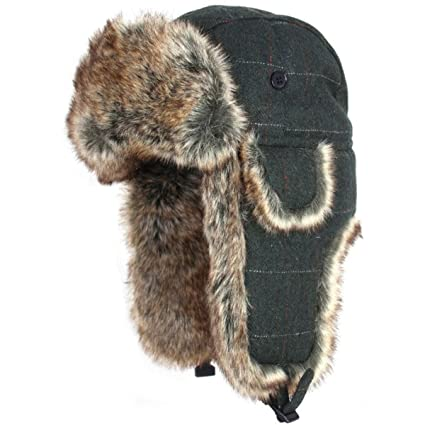 644720f3cf735 Amazon.com   Jack Pyke Wool Blend Trapper Hat Green Check   Sports ...
