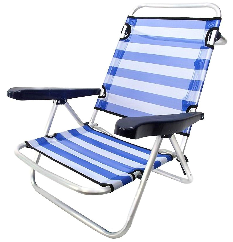 MENTA LIMON Silla Plegable de Playa de Aluminio, BaJO, 4 Posiciones y Asas para el Transporte, Tejido textiline Transpirable en Color De ralla Azul y ...