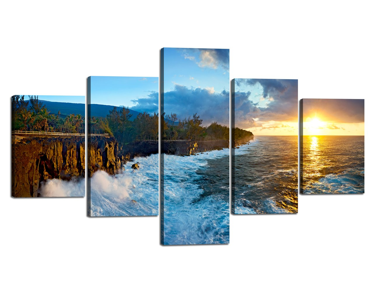 Ocean_17 Large Size Scene of Sea Waves Palm Tree Landscape Picture Modern Painting on Canvas 5 Piece Framed Wall Art for Living Room Bedroom Kitchen Home Decor Stretched Gallery Canvas Wrap Giclee Print (60''W x 32''H)