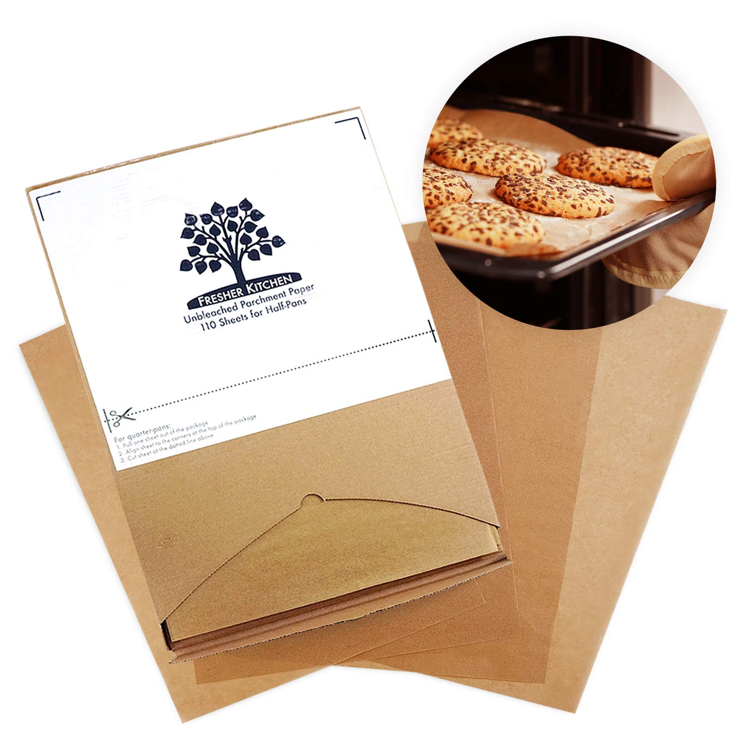 Fresher Kitchen Premium Unbleached Parchment Paper Sheets - 110 Sheets - Exact Fit for 12x16 Half-Sheet Baking Pans Turas Home
