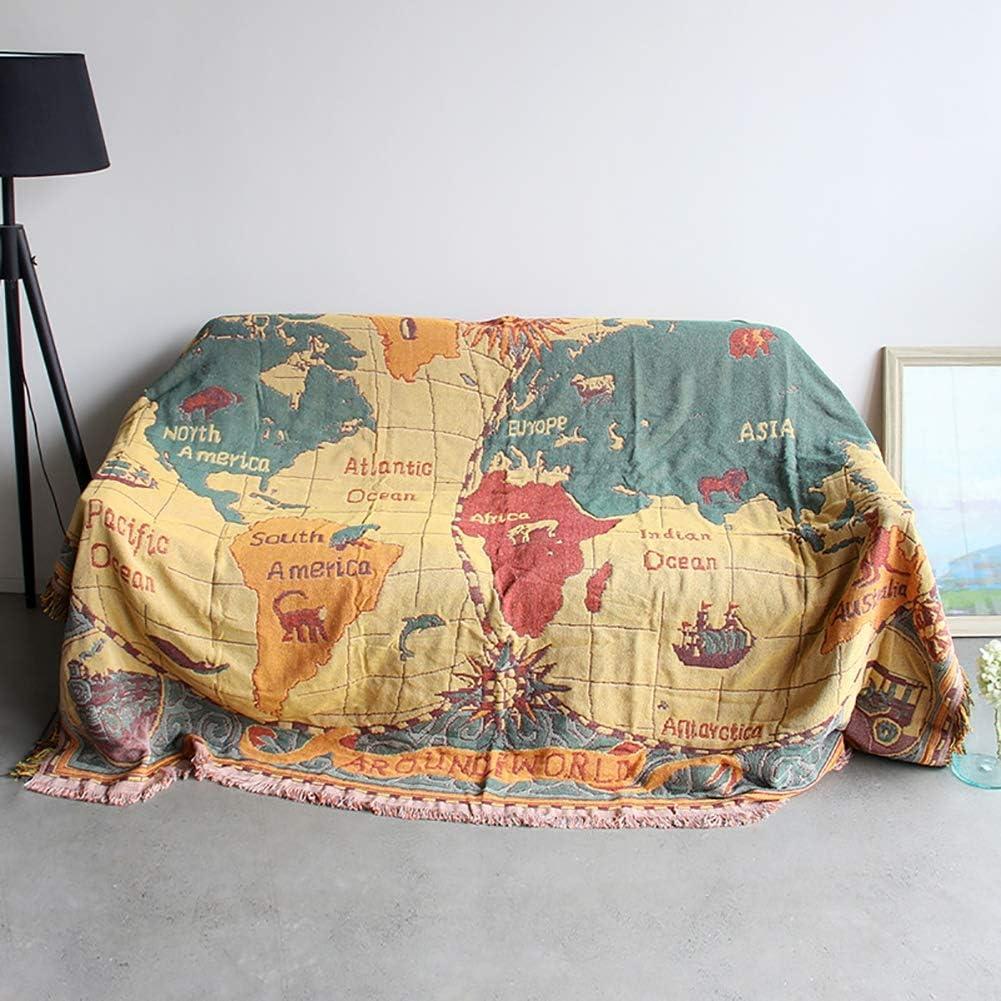 Vintage Europ/äische Decke Personalisierte Sofa Throw Decke Sofa Cover Sofa Handtuch,130 * 180cm Weltkarte Muster rutschfeste Dicken Teppich
