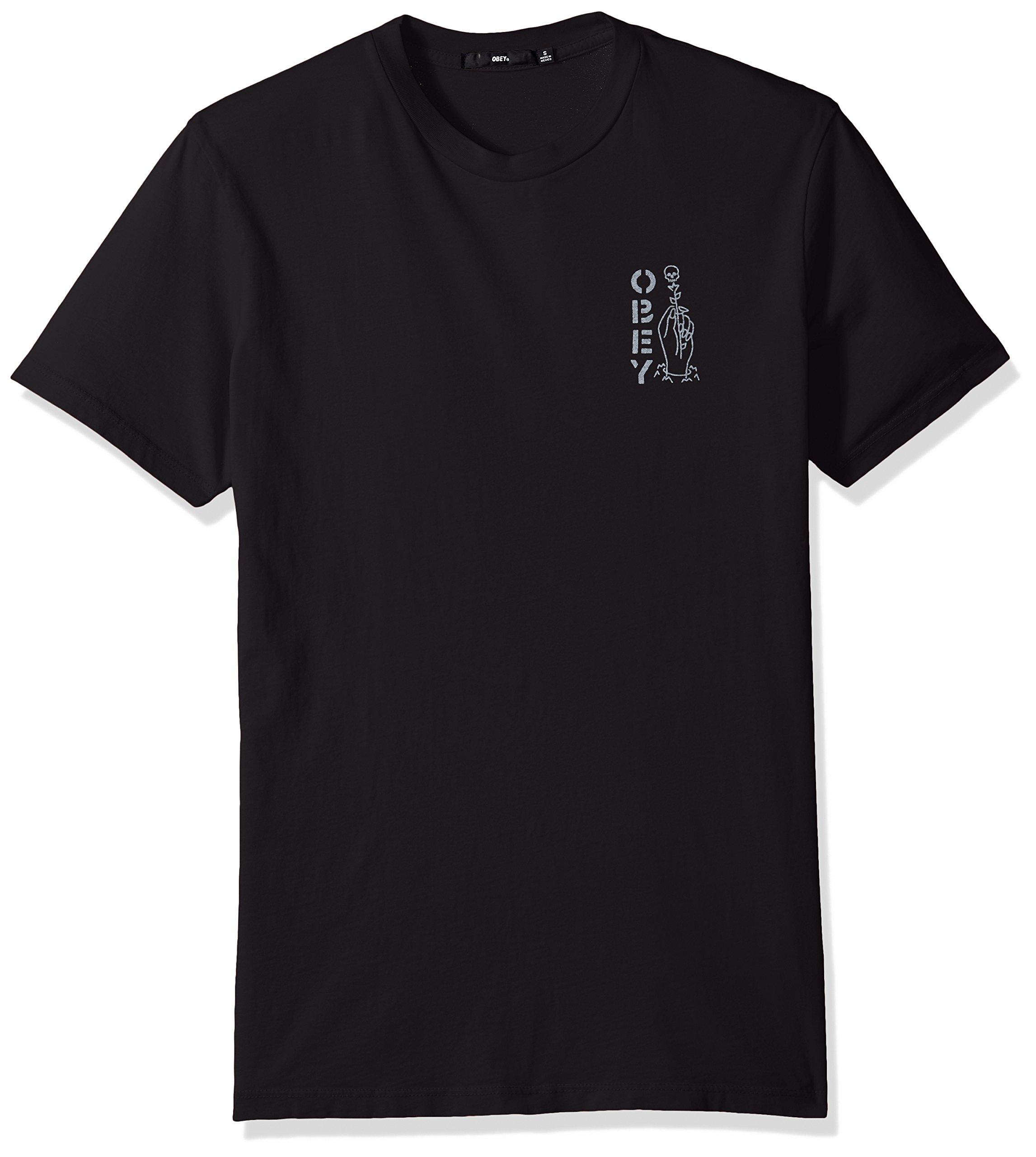 Obey Men's Till Death Crewneck T-Shirt, Limo Black, L