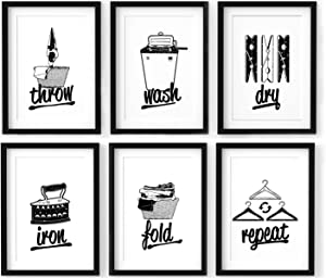 Laundry Room Signs Wall Decor - 8x10 Inches Unframed Set of 6, Throw, Wash, Dry, Iron, Fold, Repeat, Laundry Room Wall Decor, Laundry Room Accessories, Laundry Symbols Wall Art, Laundry Quotes