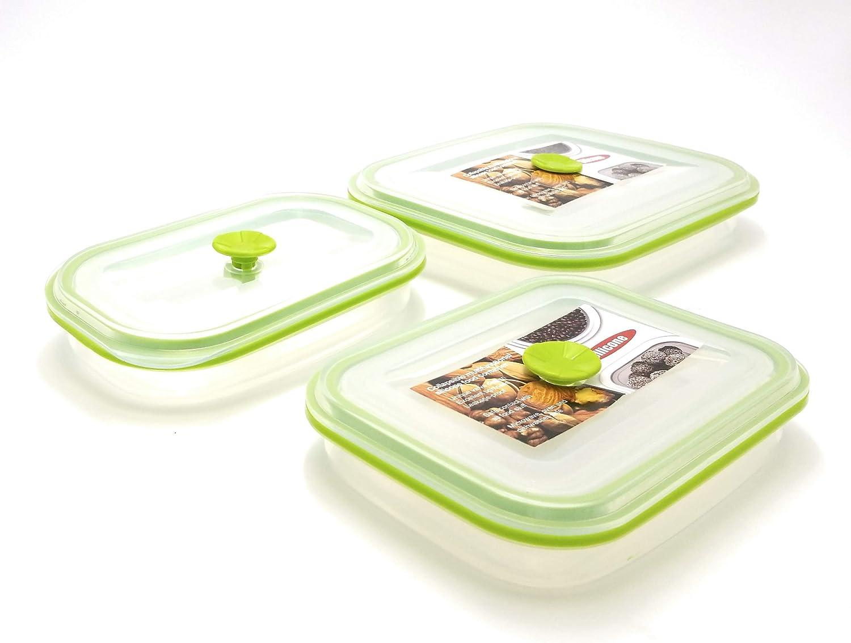 eeZe Life SCFC2-3pcs 100% Pure Silicon collapsible Food container LFGB Food Grade (3-pcs Rectangular)