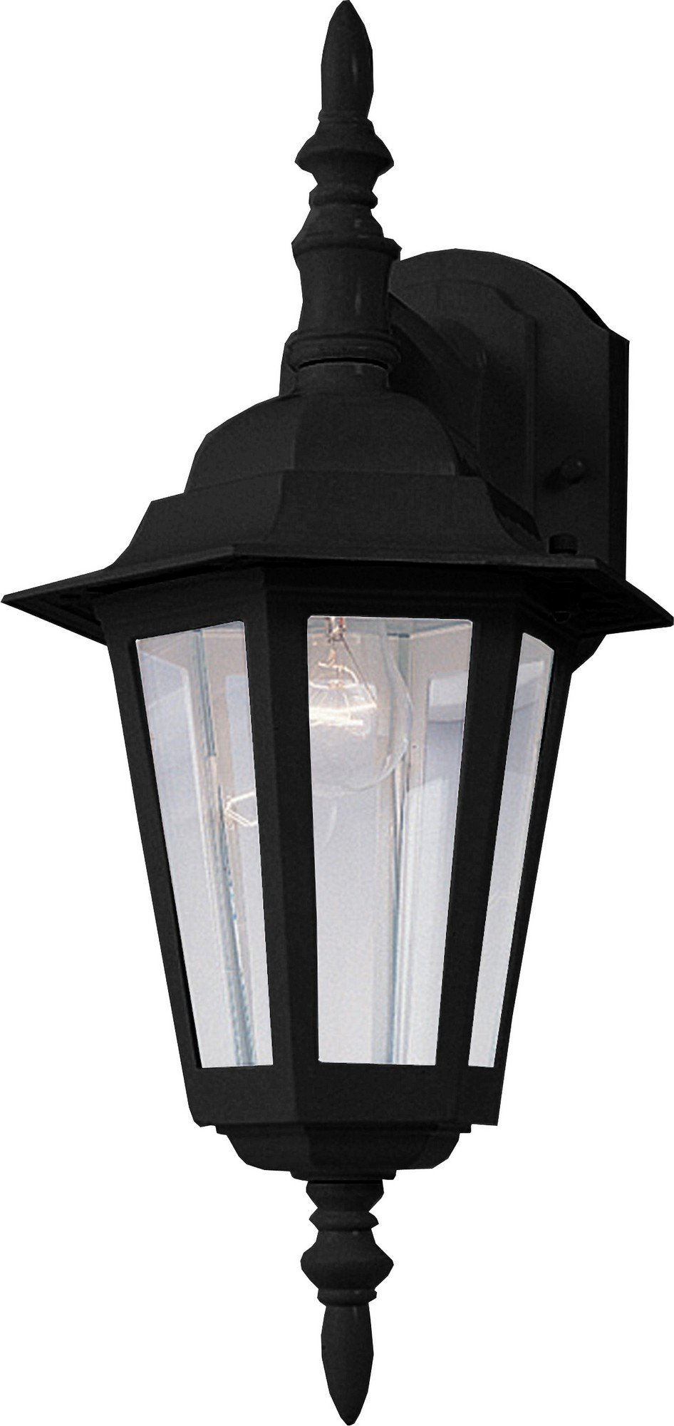 Maxim 3002CLBK Builder Cast 1-Light Outdoor Wall Mount, Black Finish, Clear Glass, MB Incandescent Incandescent Bulb , 100W Max., Damp Safety Rating, Standard Dimmable, Glass Shade Material, 5750 Rated Lumens