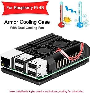 MakerFocus Raspberry Pi 4 Case, Raspberry Pi 4B Armor Case, Raspberry Pi Metal Case with Dual Cooling Fan Aluminium Alloy, Built-in Heatsink, Rust Protection only for RPI 4B