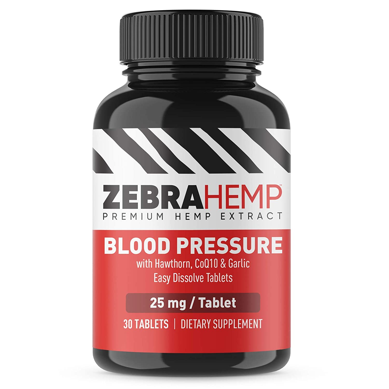 ZEBRA HEMP Blood Pressure Support Easy Dissolve Tablets - Premium Hemp Extract + Hawthorn, CoQ10, Garlic Powder for Cardiovascular & Circulatory Health - 30 Tablets