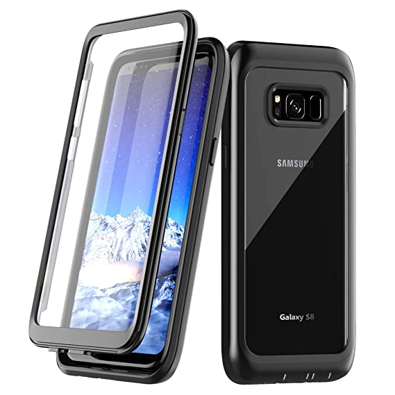 promo code 1bf6a e4878 Samsung Galaxy S8 Case, Singdo Built-in Screen Protector Cover 360 Degree  Protection Rugged Clear Bumper Case for Samsung Galaxy S8 (Black)