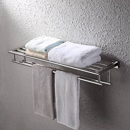 KES 30-Inch Large Towel Rack with Shelf Stainless Steel Double Towel ...
