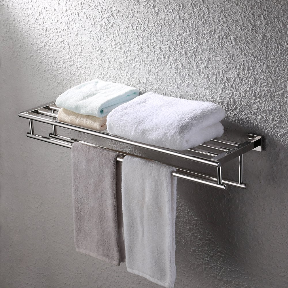 KES 30-Inch Large Towel Rack with Shelf Stainless Steel Double Towel Bar Dual Hanger Storage Organizer Modern Square Style Wall Mount Polished Finish, A2112S75 by Kes