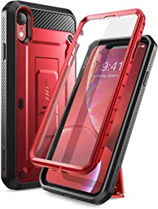 SUPCASE Unicorn Beetle Pro Series Case Designed for iPhone XR, with Built-in Screen Protector Full-Body Rugged Holster Case for iPhone XR 6.1 Inch (2018 Release) (MetallicRed)