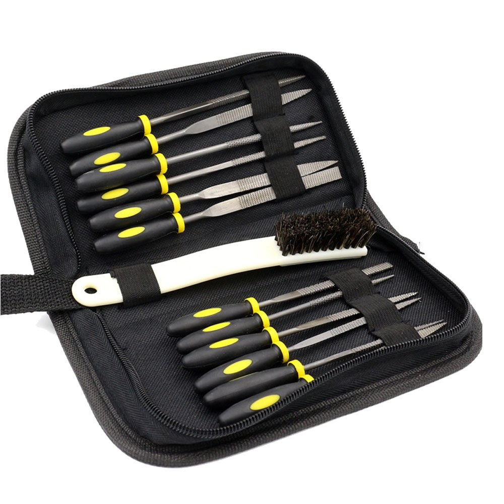 DIYNP 12pc Mini Assorted Wood Rasp Set Steel Needle Files Trimming File with Brush, Parts Box and Storage Box by DIYNP