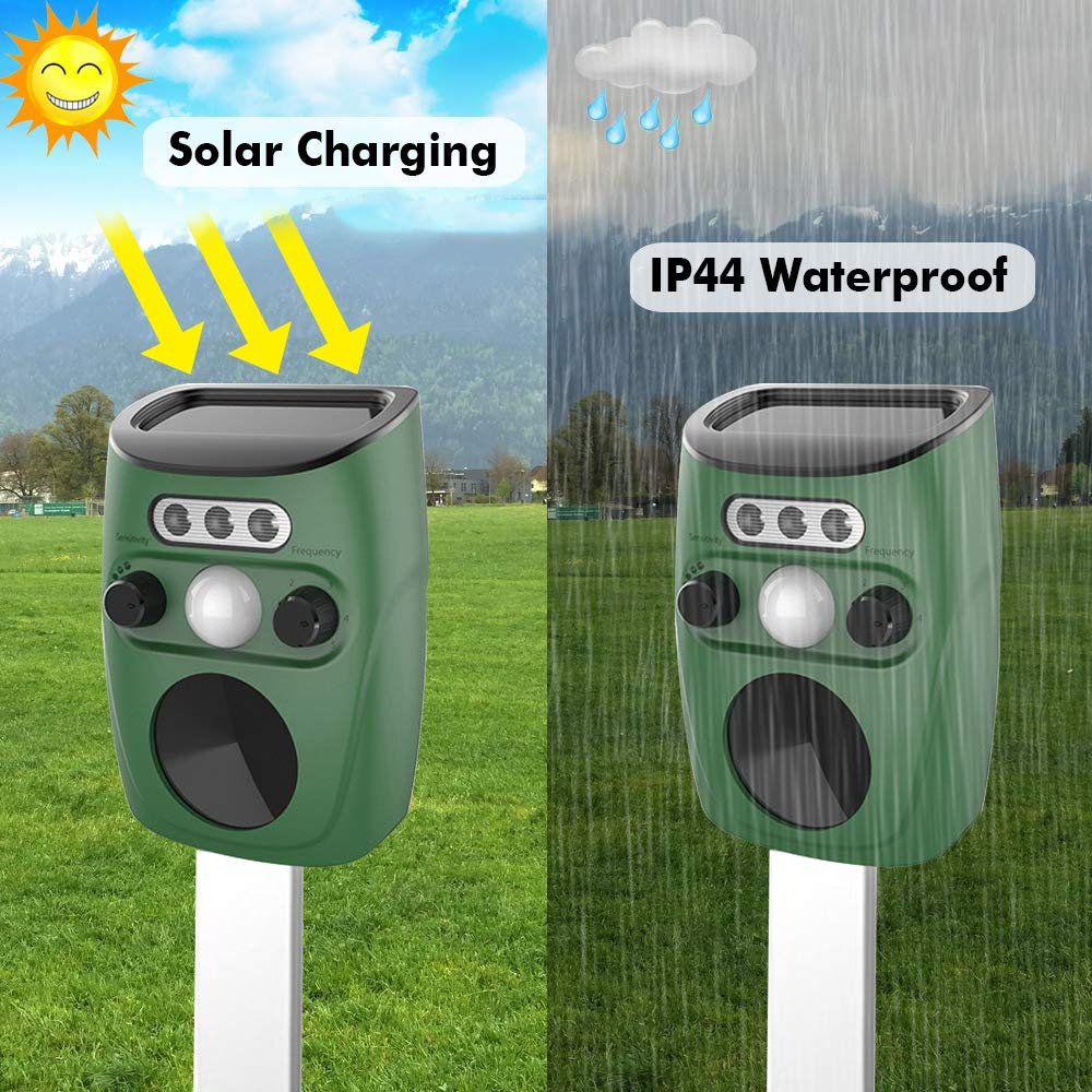Rats. Bird Squirrels Moles Solar Ultrasonic Animal Repeller Outdoor Pest Repellent With Motion Sensor and Flashing Light for Cats Dogs Cat Repellent