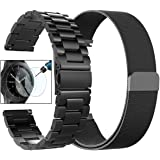 CAGOS Galaxy Watch 46mm Bands/Gear S3 Frontier/Classic Bands Sets, 2 Pack Stainless Steel Metal + Milanese Loop Mesh Strap Replacement Ticwatch Pro/Galaxy Watch 46mm Smartwatch - Black XLarge