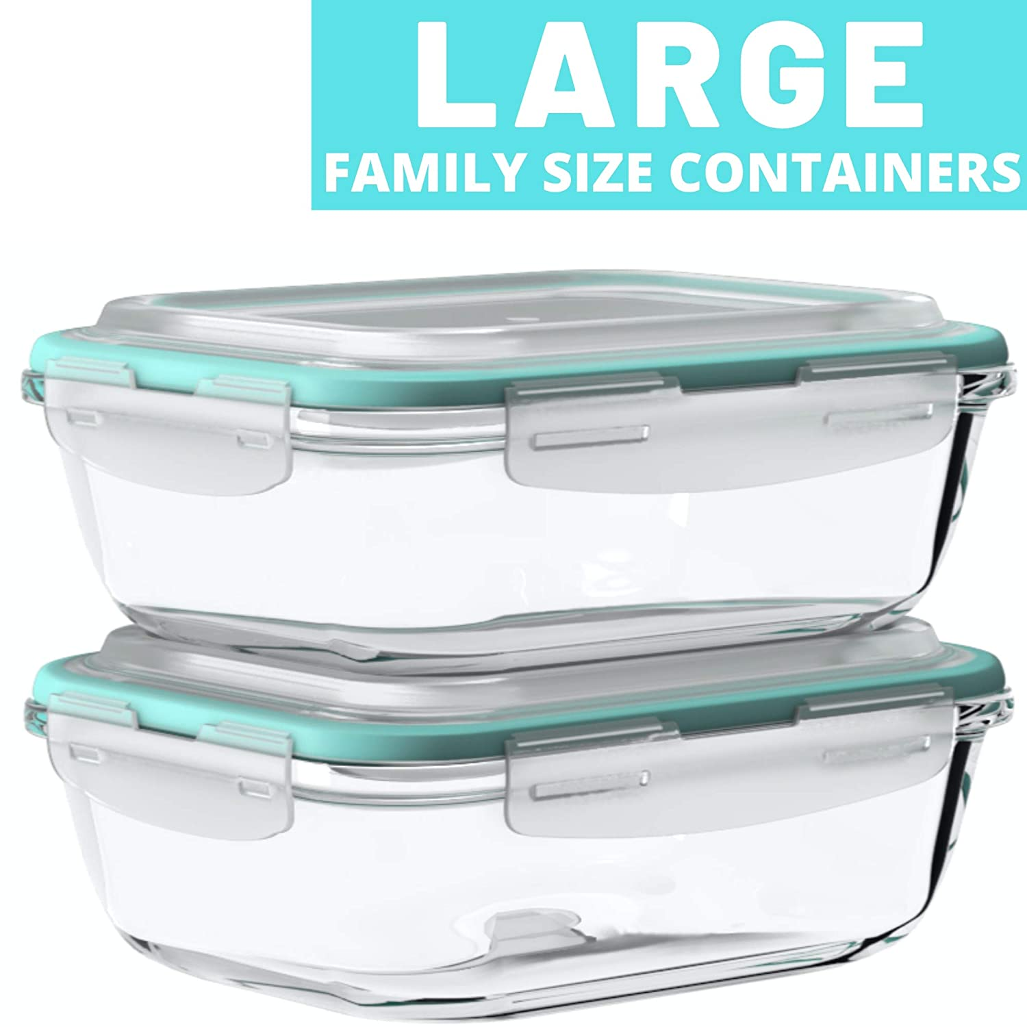 Large Glass Food Storage Containers with Snap Lock Lids for Leftovers - Safe for Microwave, Oven, Dishwasher, Freezer - BPA Free - Airtight & Leakproof [2 Pack]