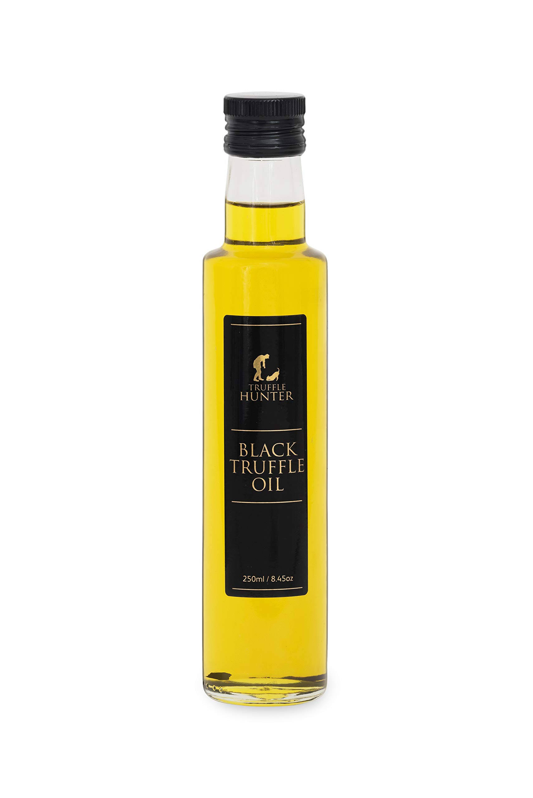 TruffleHunter Black Truffle Oil (8.45 Oz) [Double Concentrated] Extra Virgin Olive Oil Salad Dressing Seasoning Gourmet Food Condiments - Vegan, Kosher, Vegetarian and Gluten Free by TruffleHunter