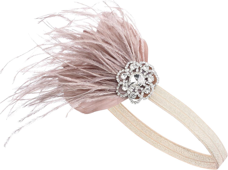 BABEYOND 1920s - Cinta para el pelo con plumas, estilo años 20, accesorio de disfraz para mujer